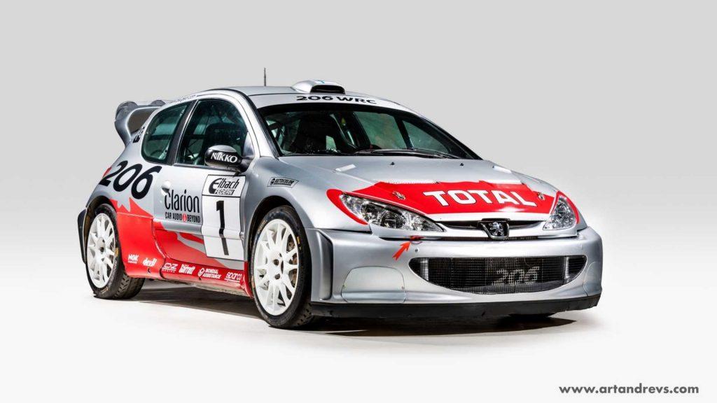 Este Peugeot 206 WRC foi conduzido por Marcus Grönholm no Mundial de Ralis